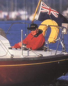 David Thomas at the helm of his Elizabethan 30 in year 2000